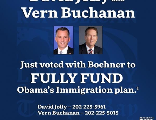 David Jolly, Vern Buchanan Vote to Fund Obama's Immigration Plan